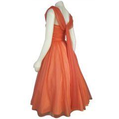 1950s Coral Chiffon Ruche Bust Back Wattuea Full Skirt Party Prom Wedding Dress -Tea Length