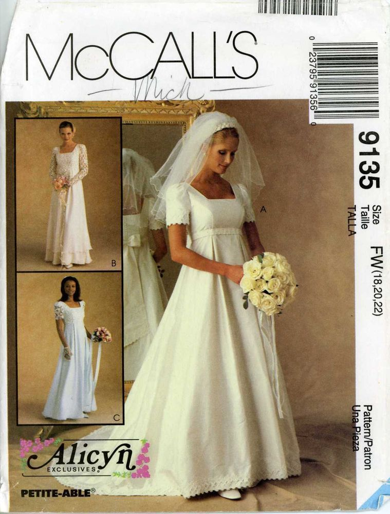 90s mccalls sewing pattern for misses bridal gown