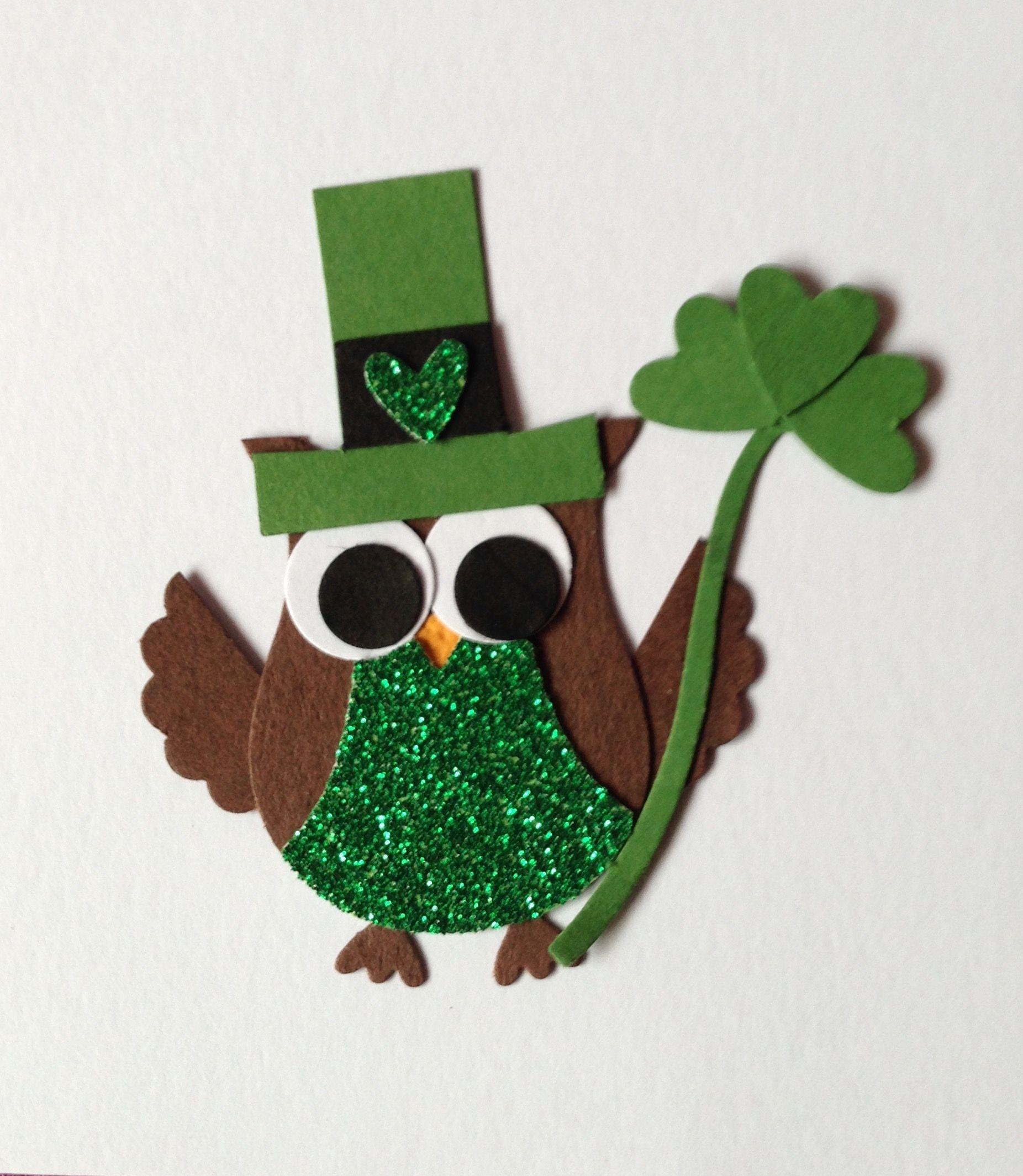 Owl leprechaun, Stampin' Up! Owl builder punch.