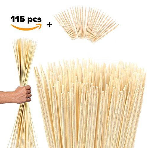 Bamboo Marshmallow Roasting Sticks Kebab Barbecue Skewers 115 Pieces 36 Inch Long 6mm Extra Thick Heavy Duty Wooden Environmentally Safe 100% Biodegradable S'mores Sticks Bonus Included Outdoor Fun #smoressticks