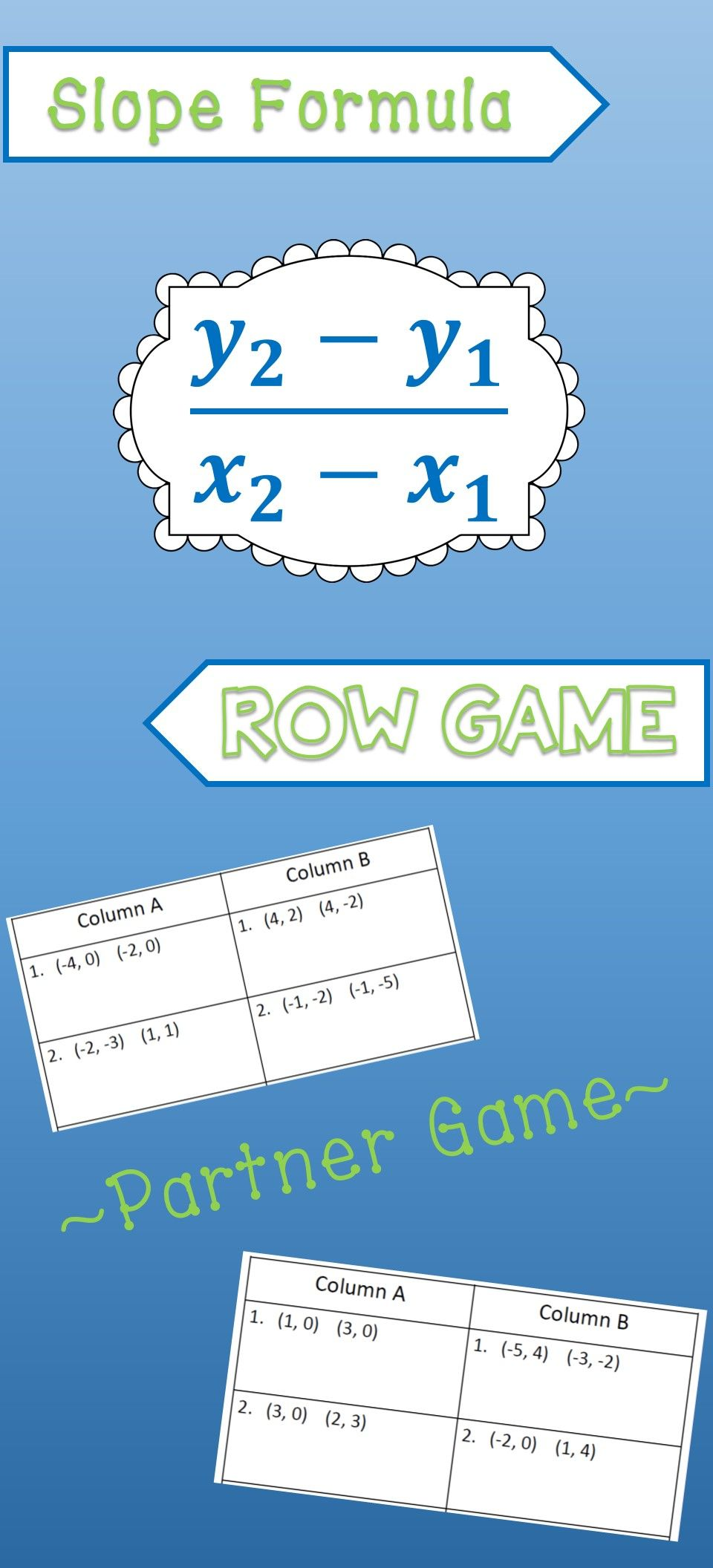Slope Row Game | Activities, Students and Algebra