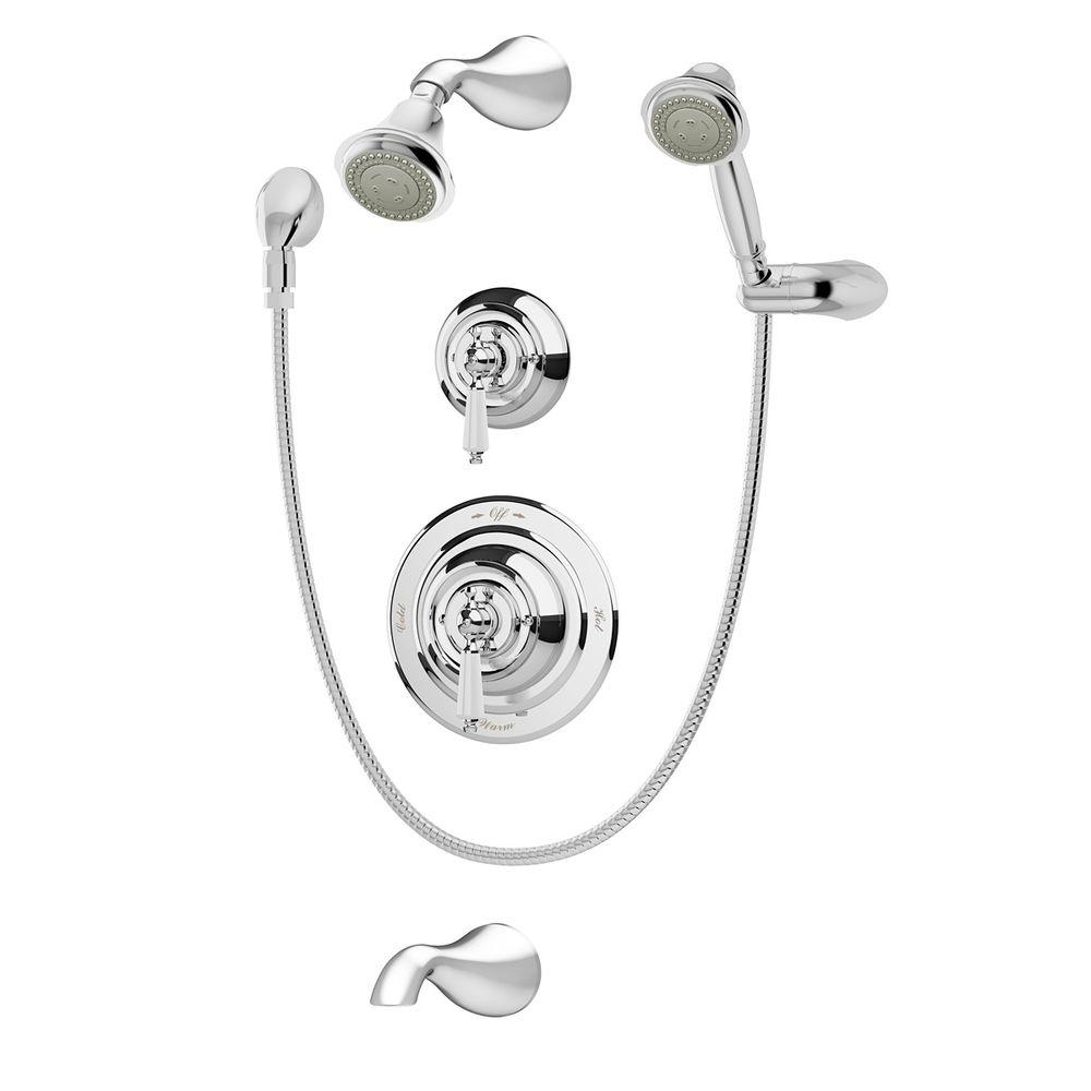 Symmons Carrington 1-Handle 3-Spray Tub and Shower Faucet with Hand ...