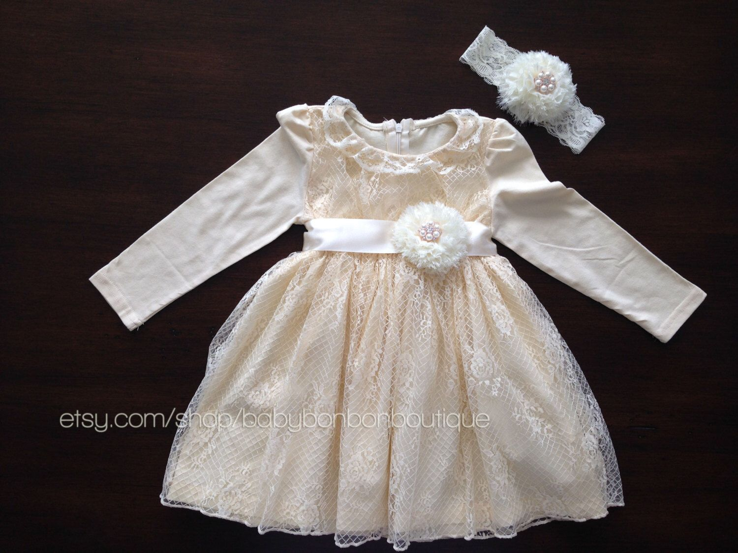 Lace dress for baby girl  baby girl lace dress headband and sash flower girl cream dress