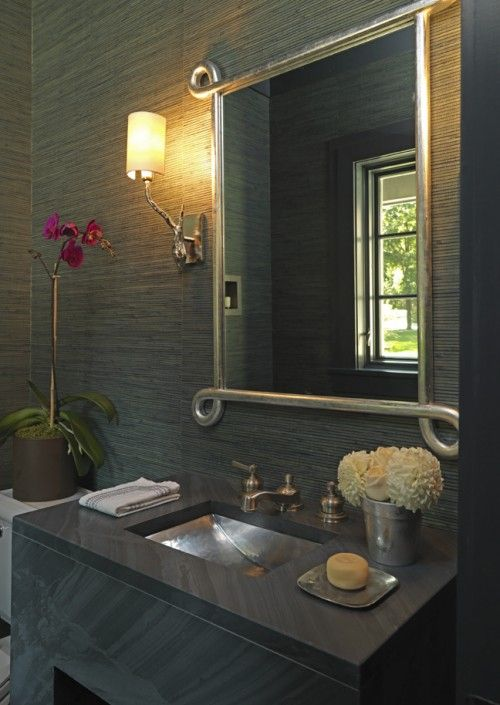 Dramatic Powder Room Grasscloth Wallpaper Stone And Bronze Sink