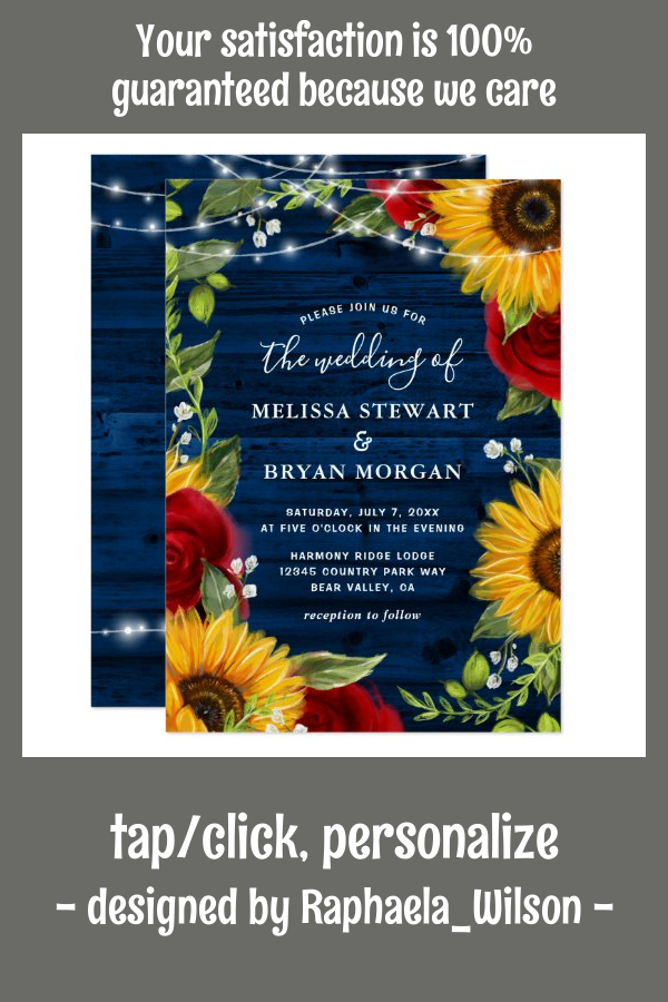 Sunflower Navy Blue Red Rose Rustic Wood Wedding Invitation | Zazzle.com