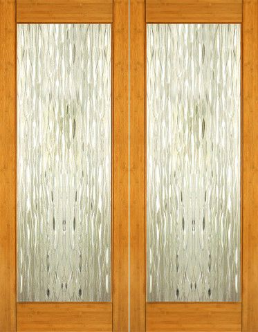 Bm 33 Interior Bamboo Contemporary Waterfall Glass Double Door