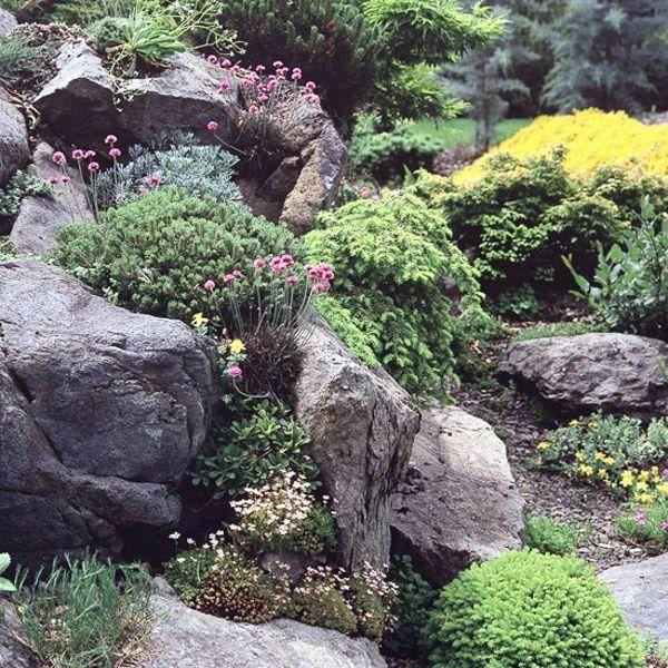 gartengestaltung mit steine und grünen pflanzen - 53 erstaunliche, Gartenarbeit ideen