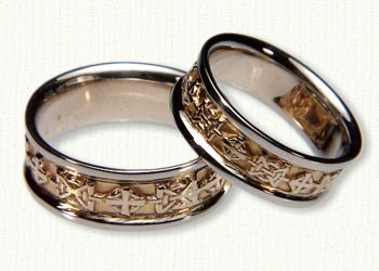 Custom Hugs And Kisses Knot With Crosses Wedding Band Set Available In Any Metal Combination