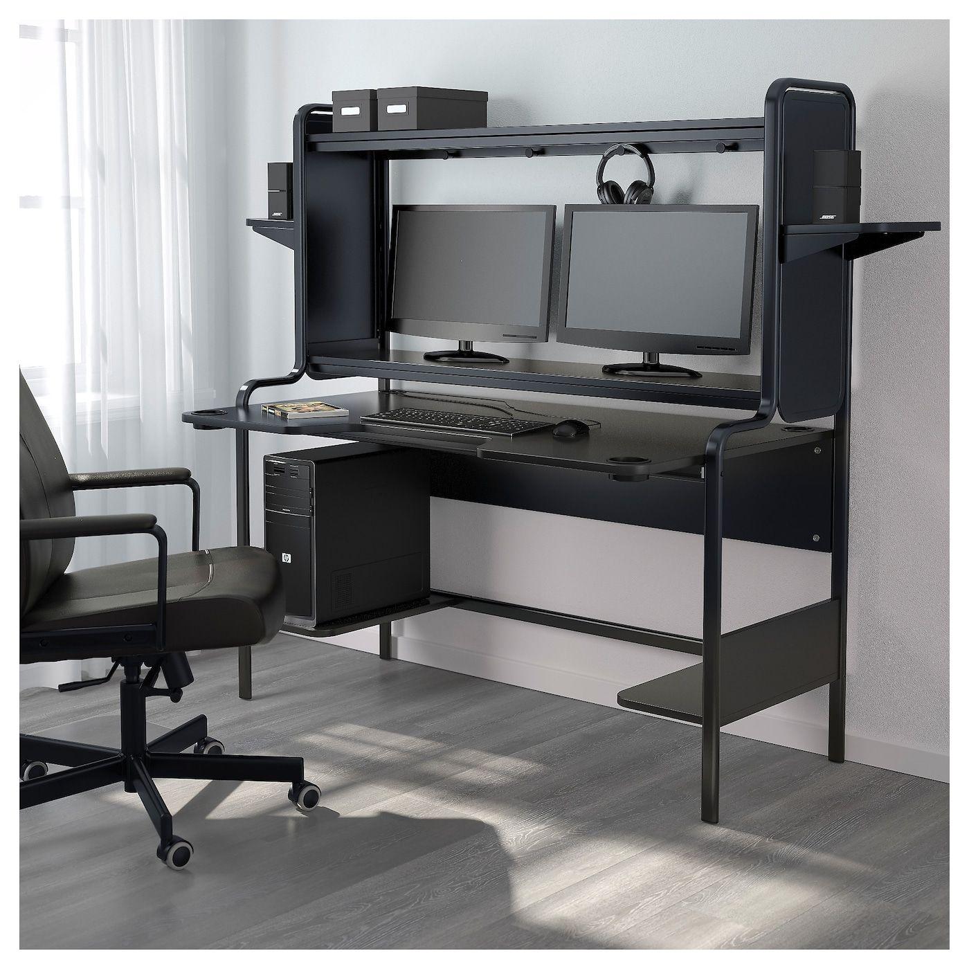 Fredde Bureau Noir 185x74x146 Cm Ikea Room Setup Diy Computer Desk Ikea Gaming Desk