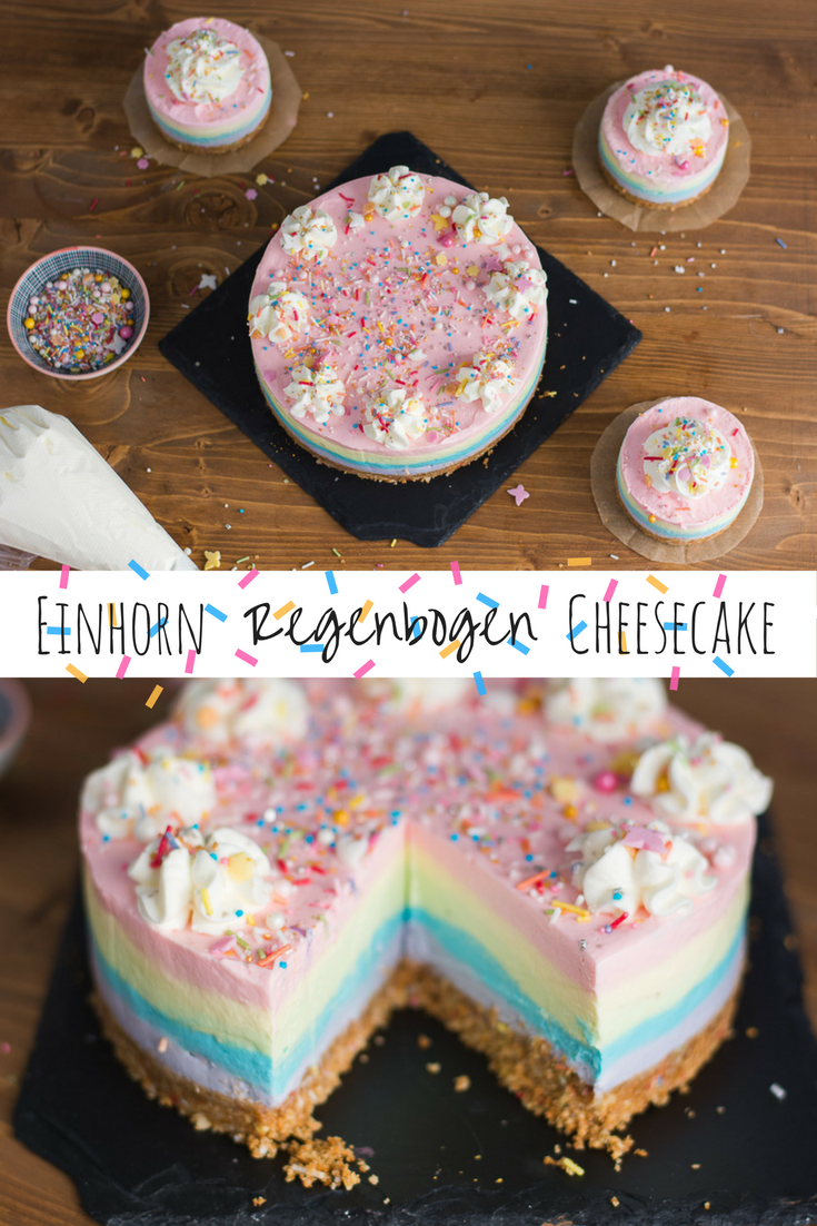 Photo of Einhorn Torte: Regenbogen Cheesecake