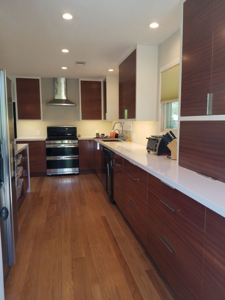 Mid century modern, sapele cabinets with white face frames ...