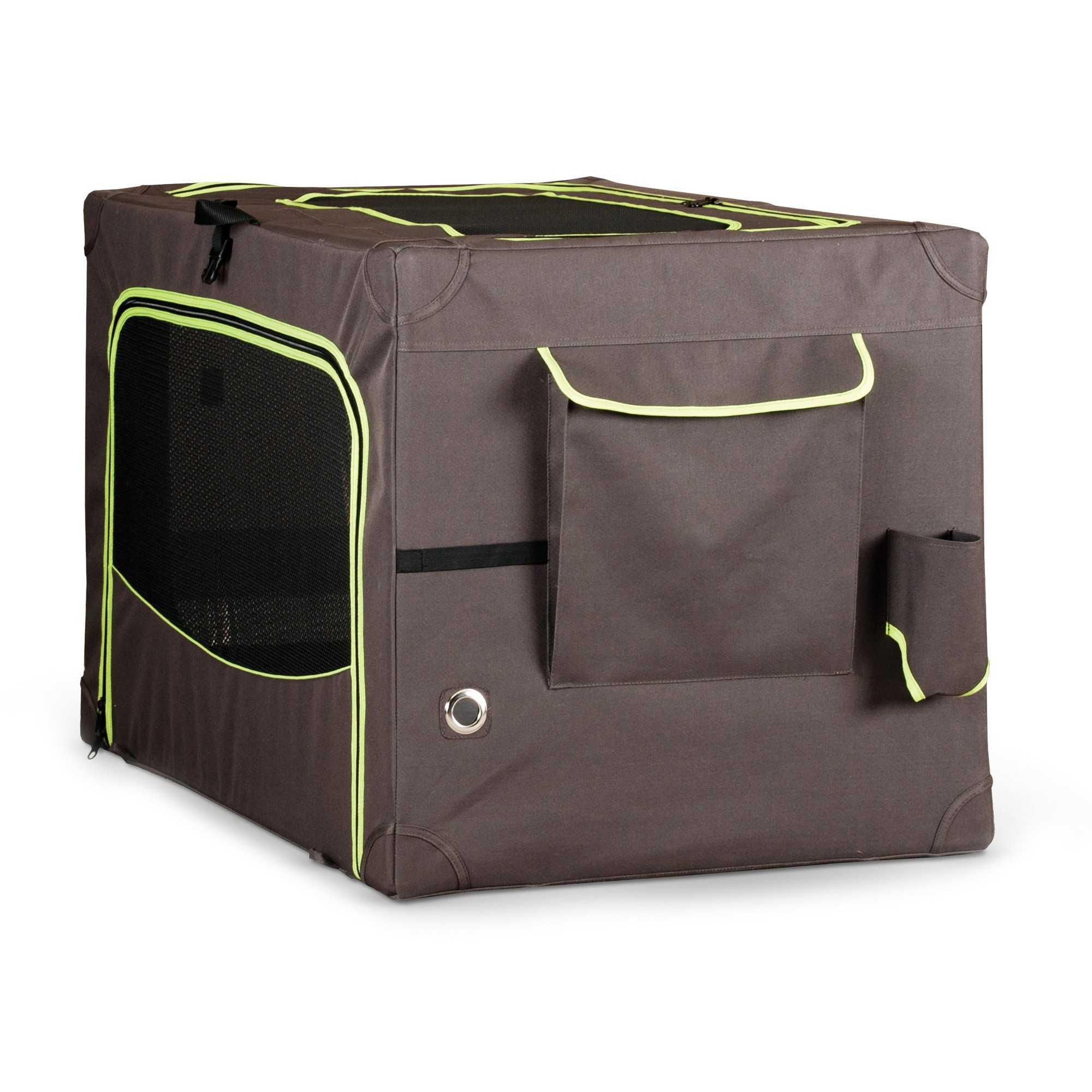 K&h Pet Products Classy Go Soft Crate Large Brown/Lime