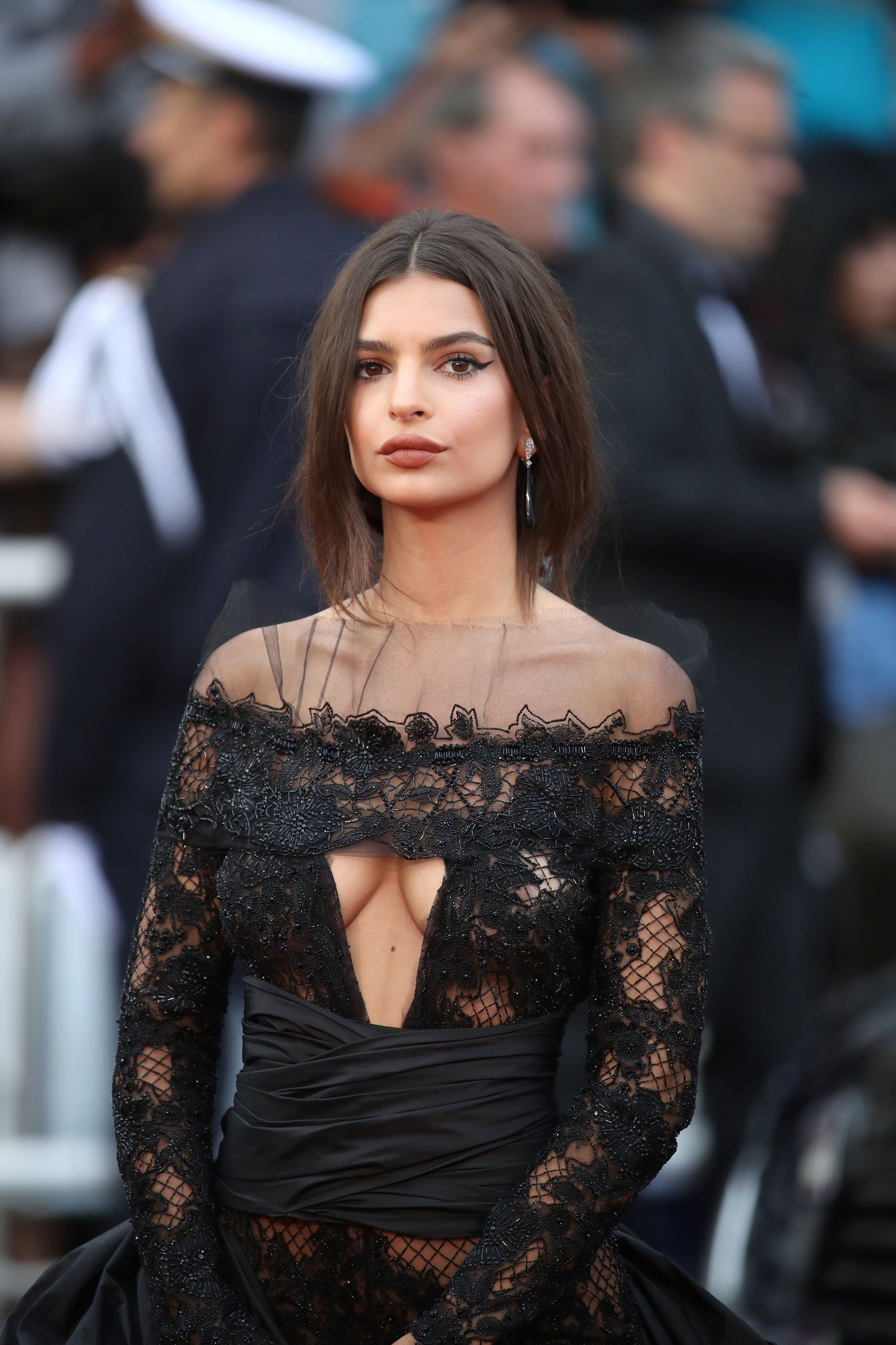 f7e08a860e Emily Ratajkowski Is Wearing See-Through Lace Pants at Cannes Like Only She  Can