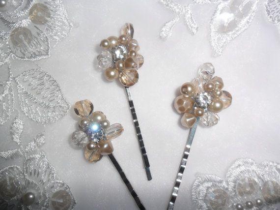 Bridal Hair Pins Champagne Hair Pins Wedding by TheWeddingDivas, $36.00