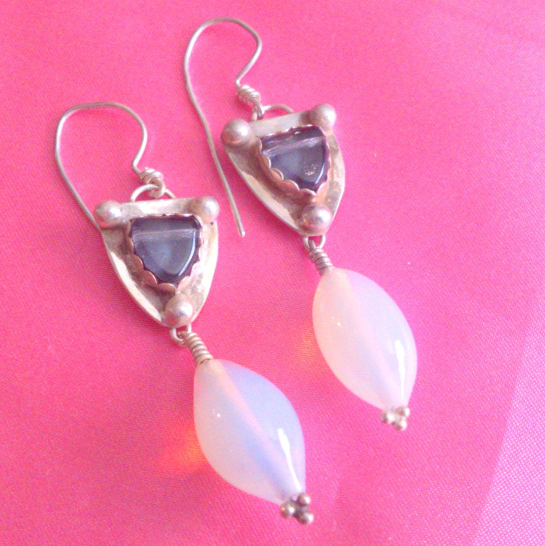 Vintage Signed JG Art Glass and Opaline Glass Drop Earrings by BorrowedTimes on Etsy