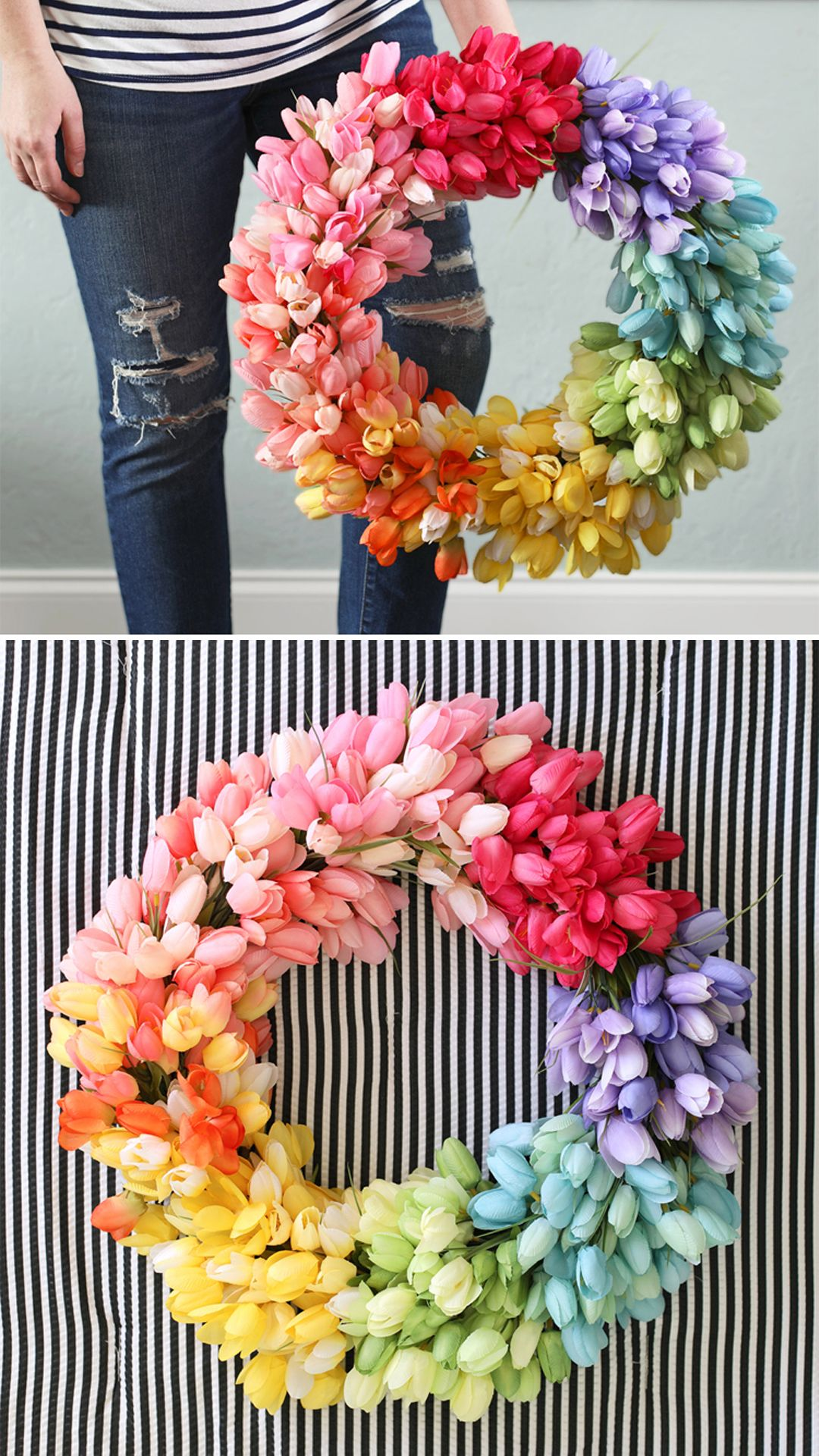 This gorgeous, colorful wreath is super easy to make and perfect for spring! I love the rainbow of tulips.