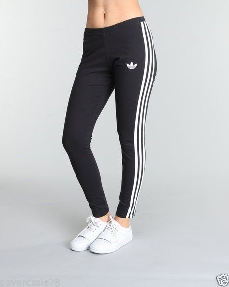 5c5409379b395 WOMEN'S XL ADIDAS 3 STRIPE LEGGINGS BLACK & WHITE TIGHTS PANTS RUNNING YOGA  #adidas