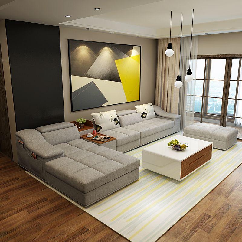 meubles de salon moderne en forme de l tissu sofa sectionnel ensemble conception canapes pour salon avec chaise longue pouf