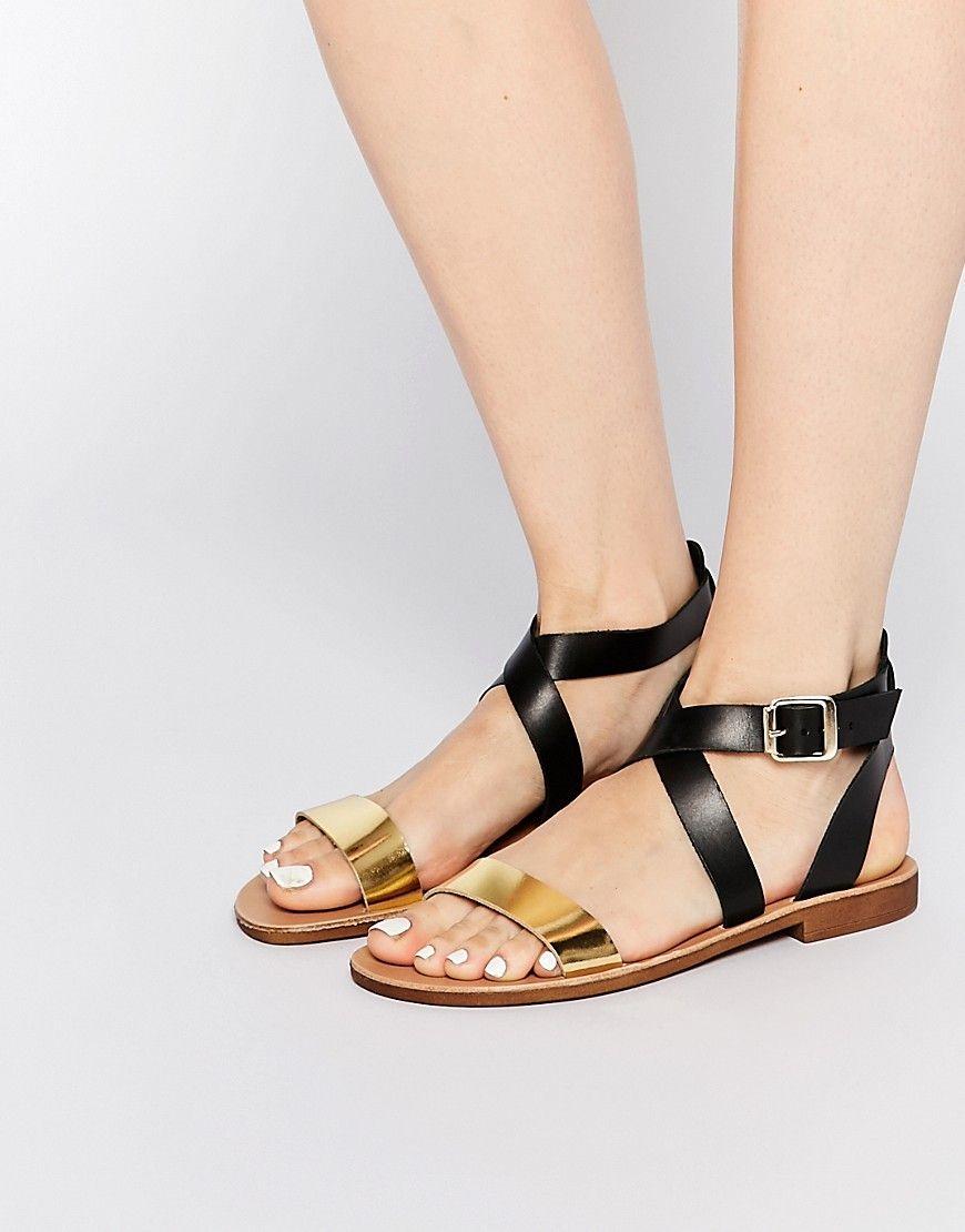 Image 1 Of Dune Lottie Gold Black Strap Flat Sandals Shoes Women Heels Metallic Leather Sandals Metallic Flats Shoes