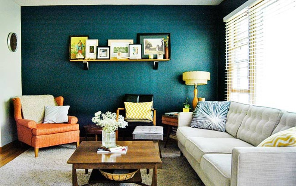 teal living room accents teal accent wall in living room with oranges and yellows 14985