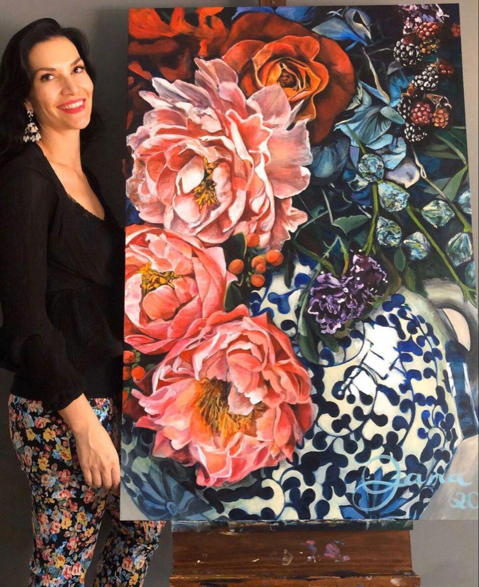 #art #artwork #artist #artoninstagram #artistatwork #peonies #roses #acrylicart #creative #canvas #flowers