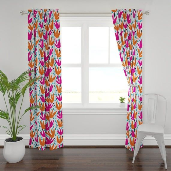Bold Graphic Floral Curtain Panel April Showers By Daniteal Spring Rain Bright Flowers Custom Curtain Panel By Spoonflower Custom Curtains Floral Curtains Bird Curtains