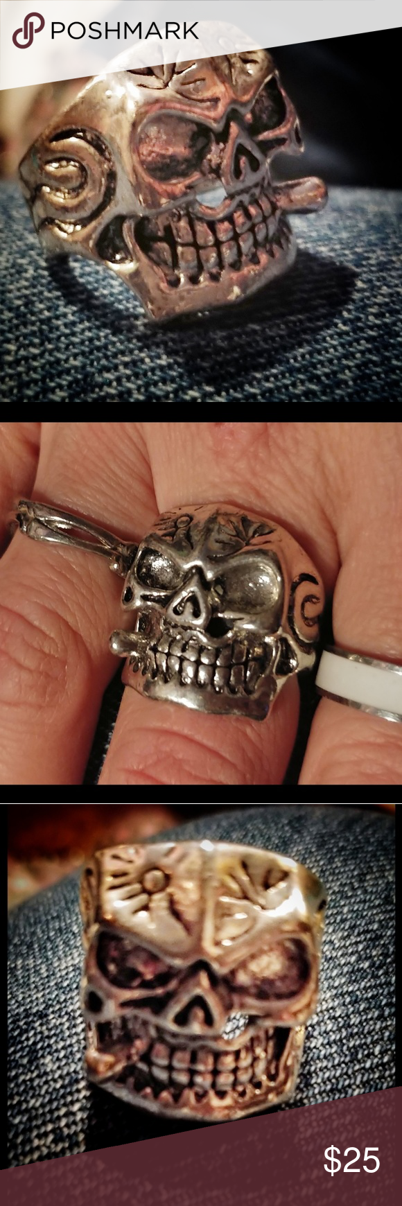 "El Gangster De Amor Stainless Steel Ring BRAND NEW Heavy Guage Stainless Steel ""El Gangster de Amor"" Smoking Skull Hardcore Ring Size 8 Vintage Jewelry Rings"