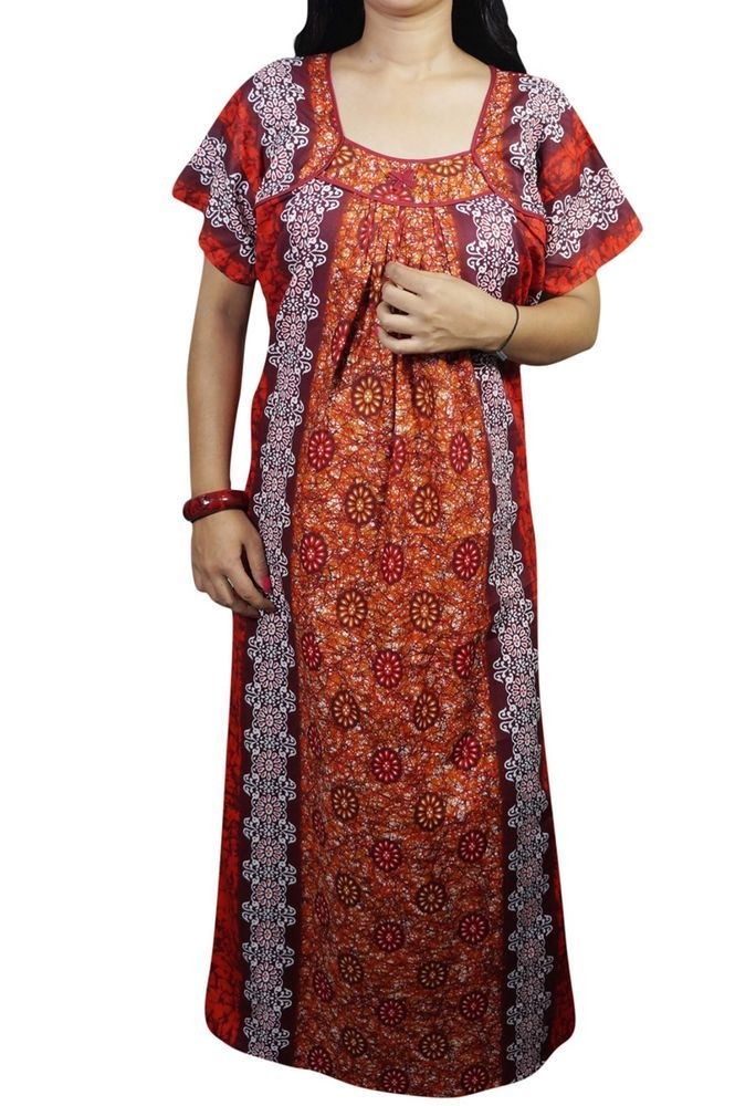 Cotton Nighty Nightwear Printed Maroon Maxi Night Gown Sleepwear For ...