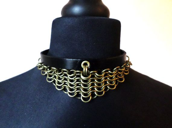 Leather and Bronze Chainmail Steampunk Choker - Antique Brass Steam Punk Chainmaille Collar