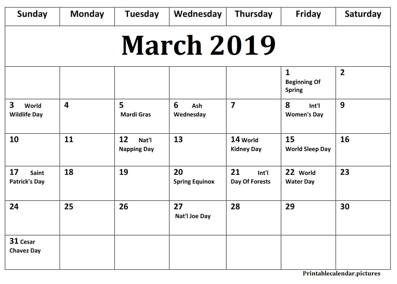 Blank Calendar March 2019 with Holidays | March 2019