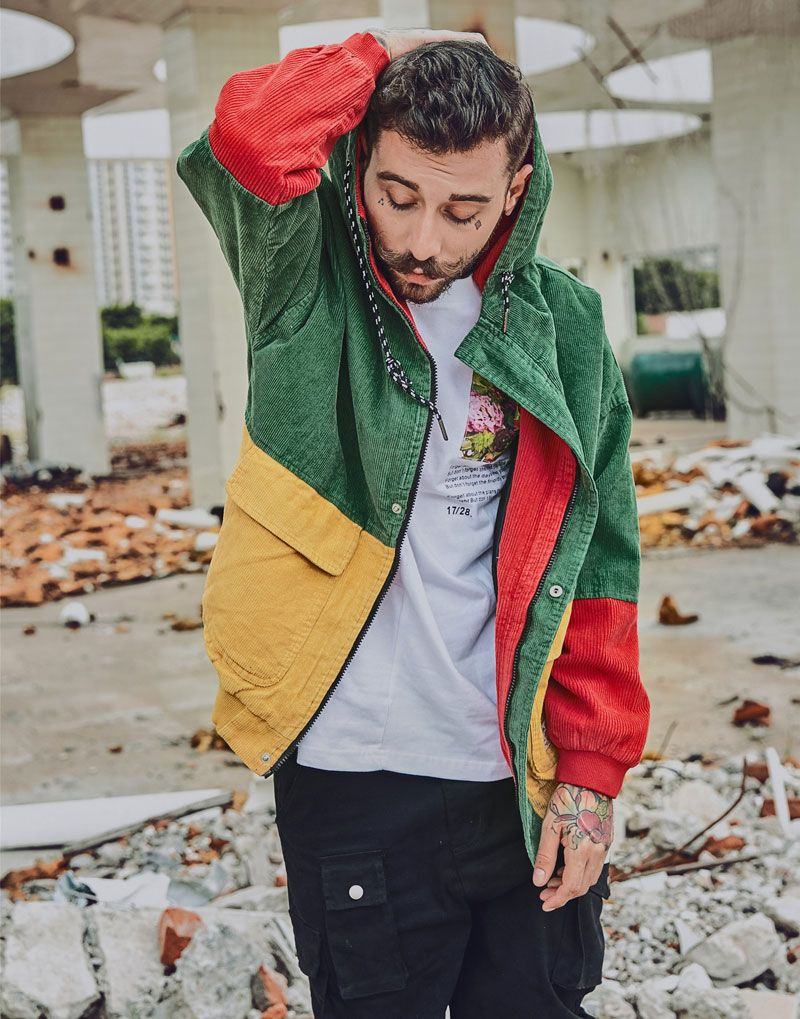 3db317ad88 Color Block Patchwork Corduroy Hooded Jackets Men Hip Hop Zipper Up Hoodies  Coats Male Jacket Men