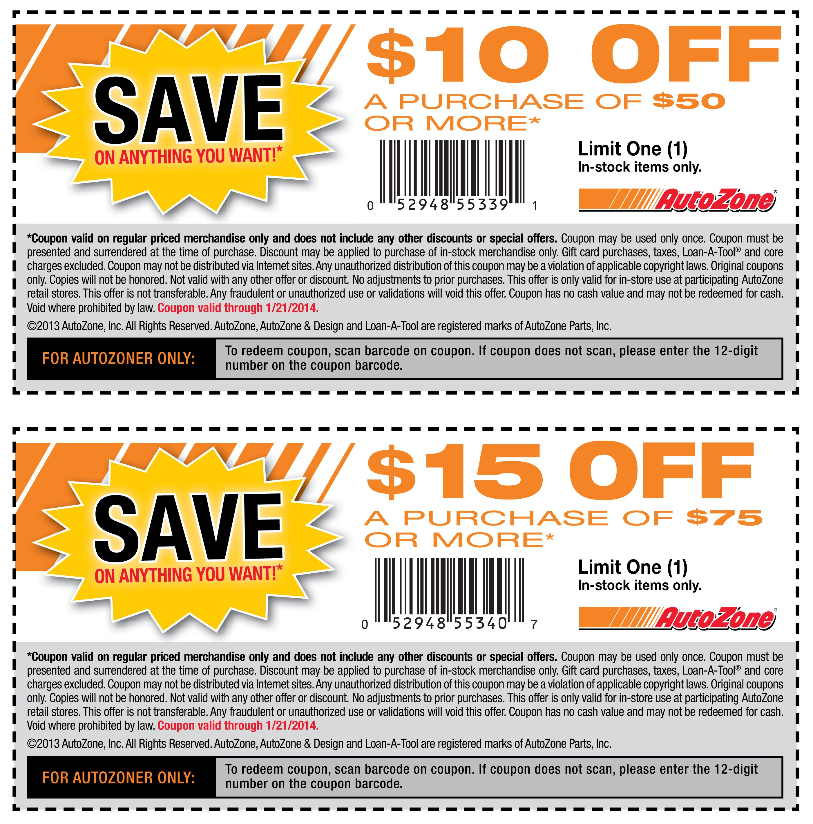 photograph regarding Gnc Printable Coupons 10 Off 50 called Autozone Coupon codes Printable Discount coupons Printable discount coupons