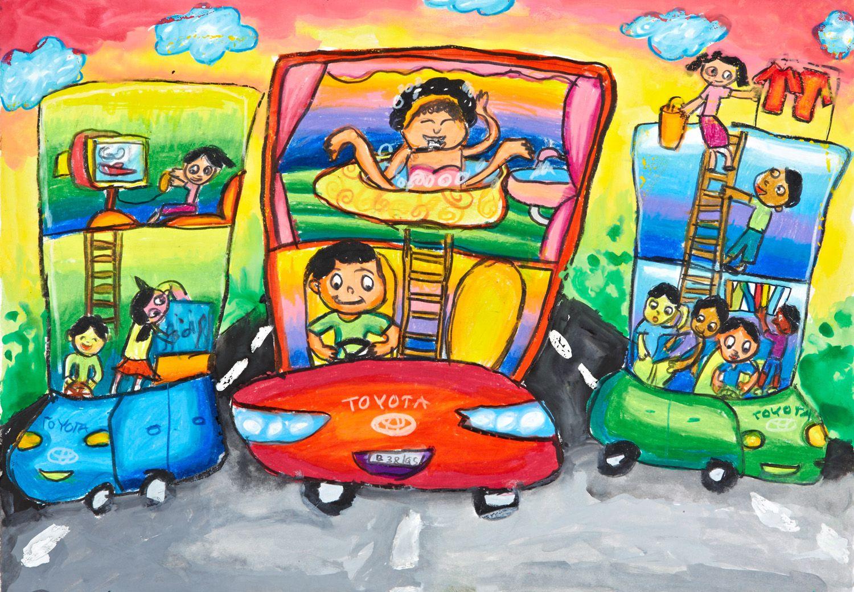 'Happy Travelling' by Amanda Ignatia Kwok, Aged 7, Indonesia: 3rd Contest, Bronze #KidsArt #ToyotaDreamCar