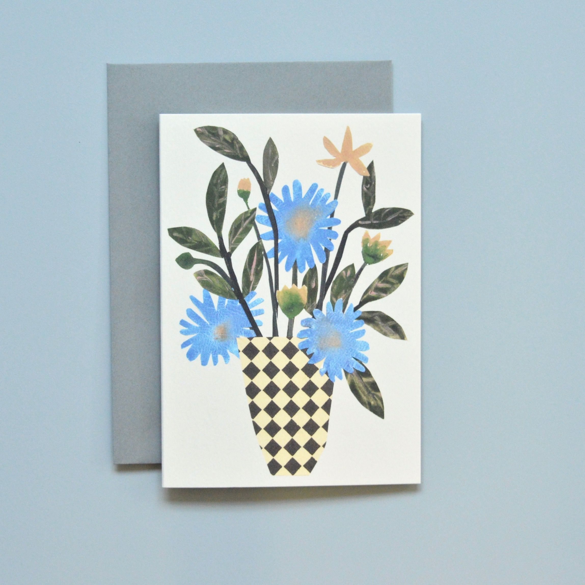 'Chequer Vase' Greetings Card with Envelope