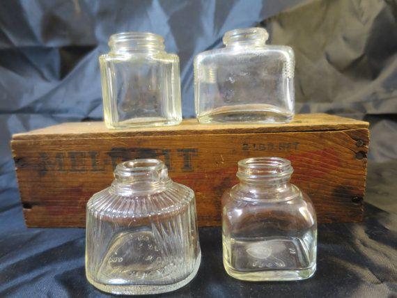 4 Vintage Glass Ink Bottles Vintage Old Ink Bottles Clear Glass