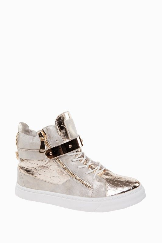 Faux Croc Skin Hi Top Trainers in Gold Tone - Trainers - Shoes