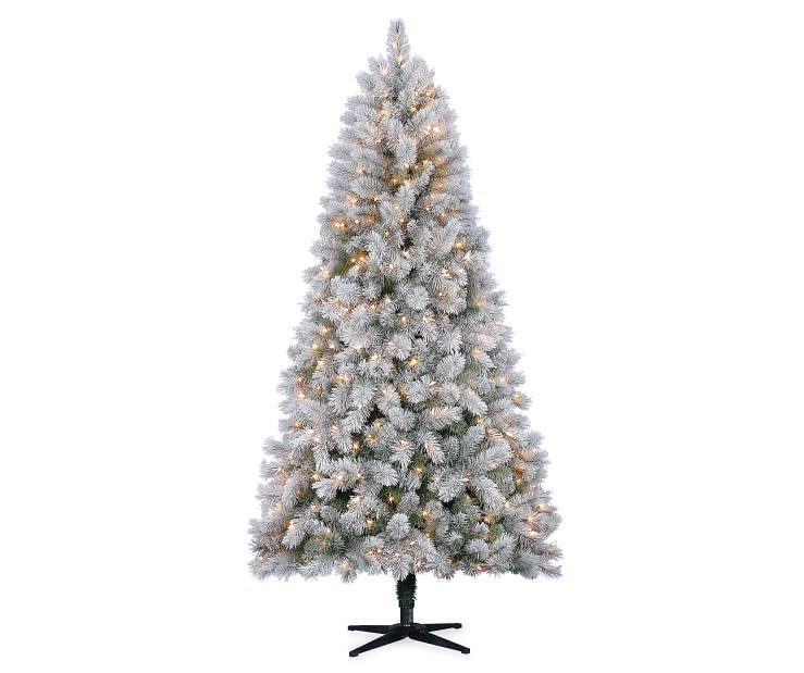7' Lake Tahoe Flocked Prelit Artificial Christmas Tree With Clear