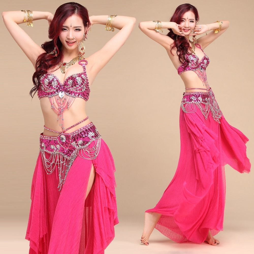 Belly Dance Costume Outfit Set Bra Top Belt Hip Scarf Bollywood Costume set