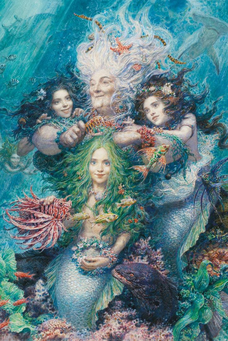 Illustrationen Aus Die Kleine Meerjungfrau Von Hans Christian Andersen Kunstlerisch Umgesetzt Von Kunst Mit Meerjungfrauen Meerjungfrau Bilder Illustration