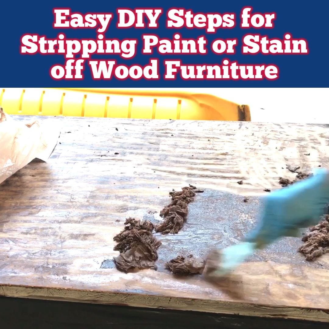 Here are the easy DIY Steps for stripping paint or stain from wood furniture. And a how to video showing exactly how I do it! Using CITRISTRIP and Saran Wrap to strip paint or stain.