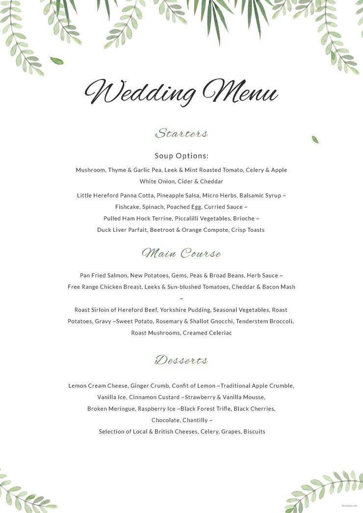 Sample Wedding Menu Pinterest Wedding menu, Wedding menu