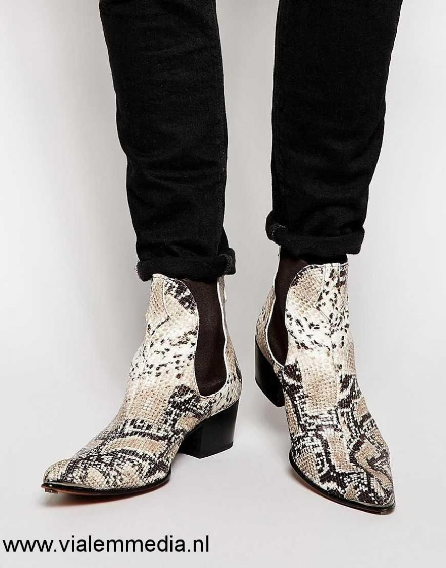 Heren - Jeffery West Snake Chelsea Boots/Laarzen - Beige| Men Jeffery West  Schoenen