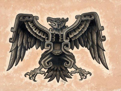 aztec eagle by opie ortiz bird of prey tattoo designs