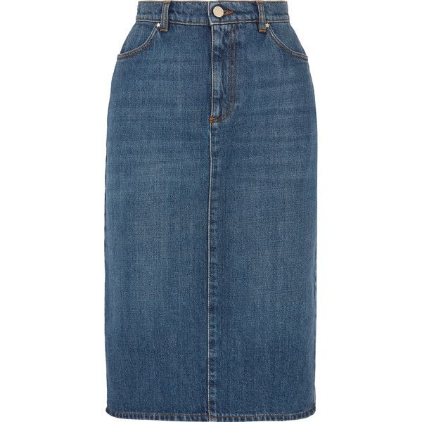 ALEXACHUNG Denim skirt ($290) ❤ liked on Polyvore featuring skirts, button skirt, knee length denim skirt, alexachung, blue denim skirt and blue skirt