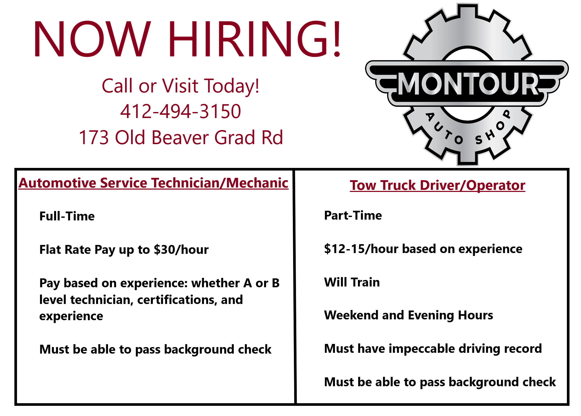 Know Someone Looking For A Job We Are Hiring For Part Time And Full Time Positions See Flyer Below For Details Or Call 41 We Are Hiring Looking For A Job Job