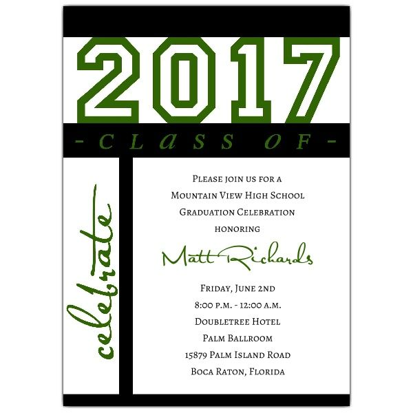 ClassOfCelebrationGreenGraduationInvitationsPGZ
