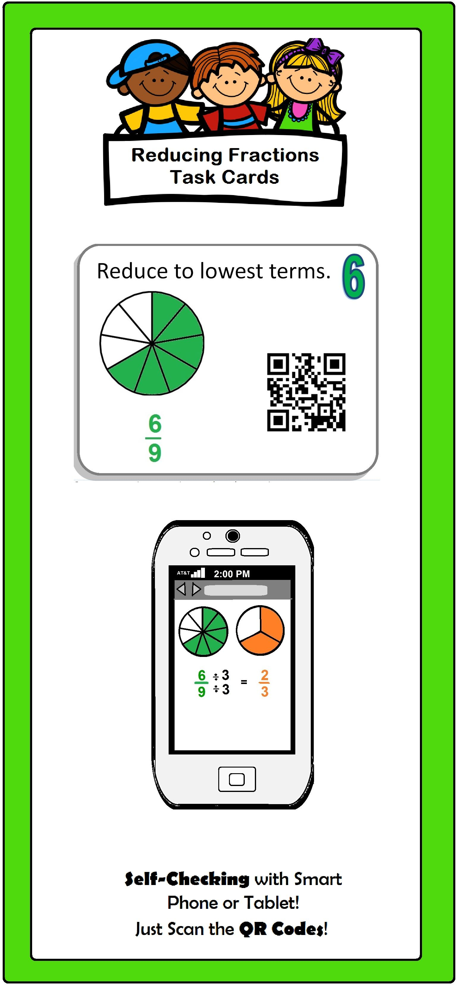 Fraction Task Cards Self Check With Qr Codes