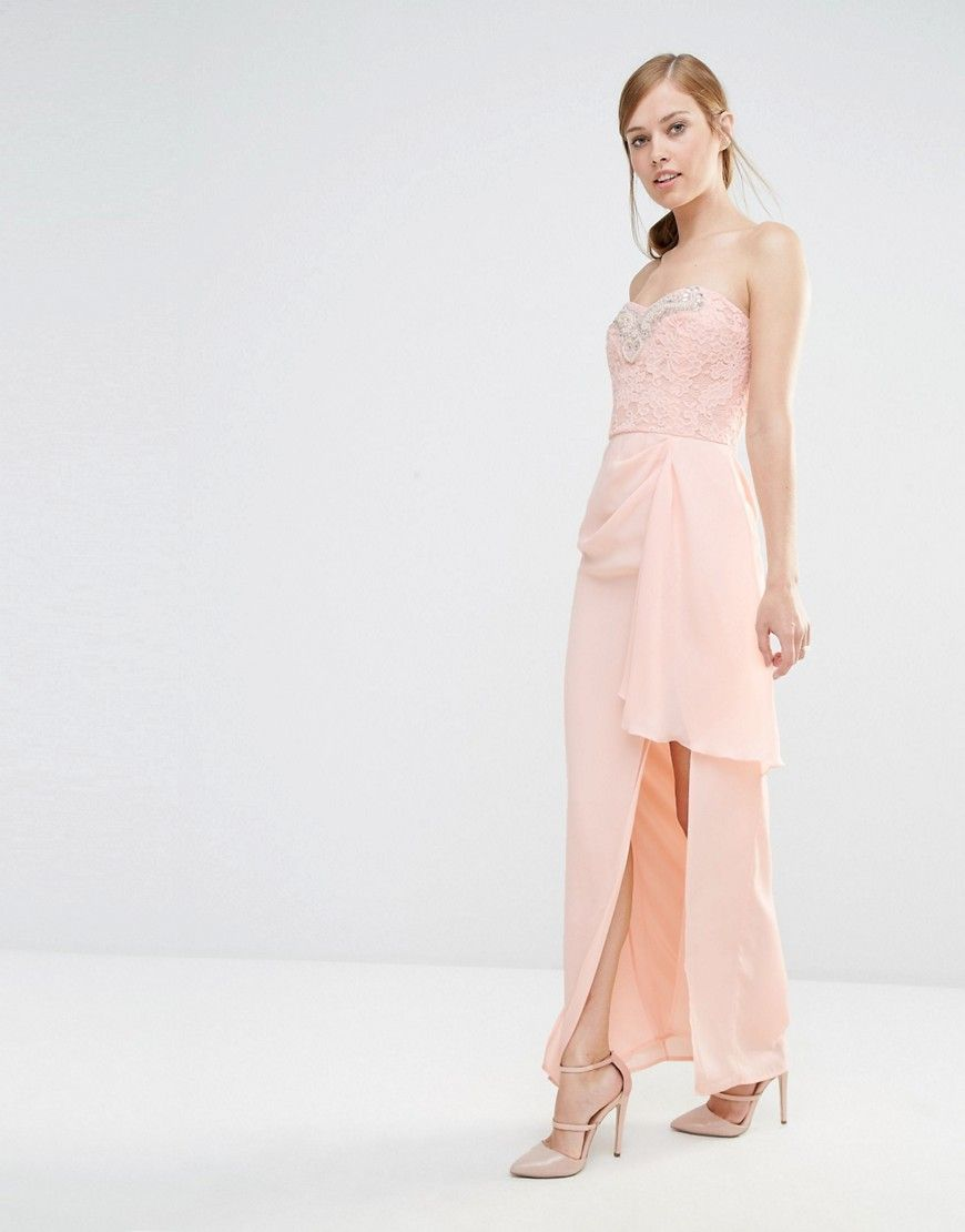 Big Sale Sale Online Midi Dress With Lace Bodice And Embellished Waist - Nude/cream Elise Ryan Largest Supplier Sale Online FonkuxB