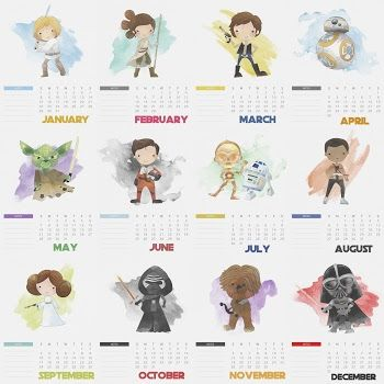 Calendario 2017 de Star Wars para Imprimir Gratis. | Party time ...