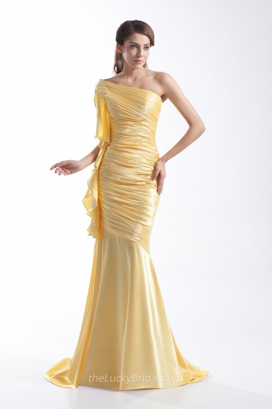 Pleated and ruffled beige oneshoulder mermaid feminine evening prom